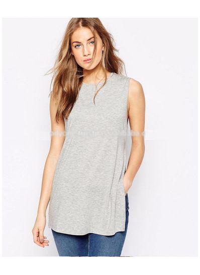 Simple Side Slit T Shirt - KP001959
