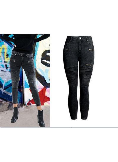 Zipper Design Denim Jeans - KP002001
