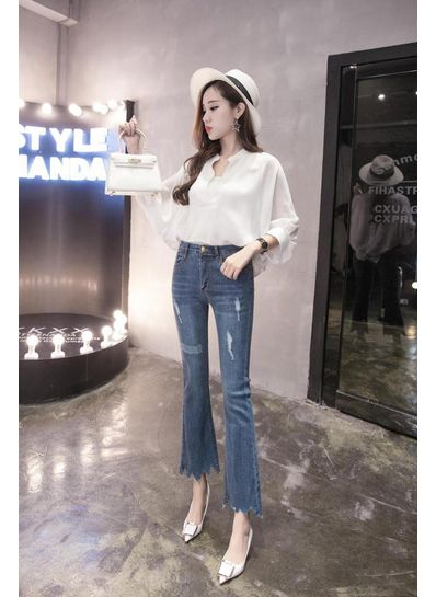 Cropped Bootcut Jeans - KP002005
