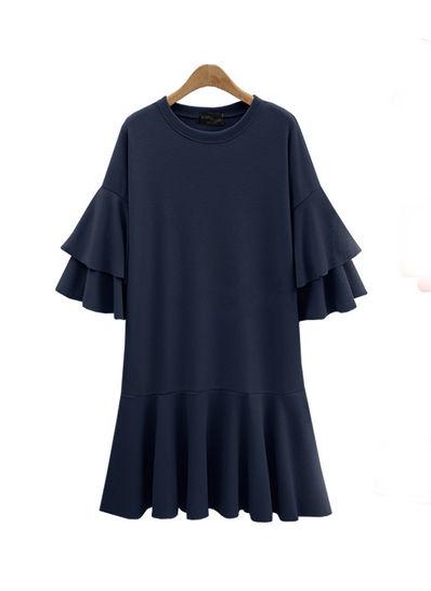 Flared Sleeve Simple Dress - KP002076