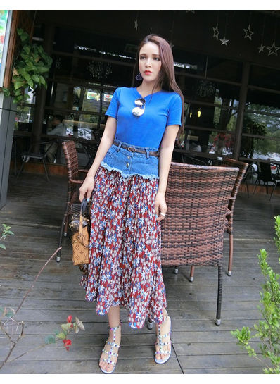 Solid Color Top  + Floral Top + Belt - KP002089