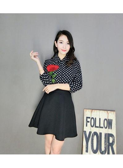 Embroidery Blouse + Skater Skirt - KP002092