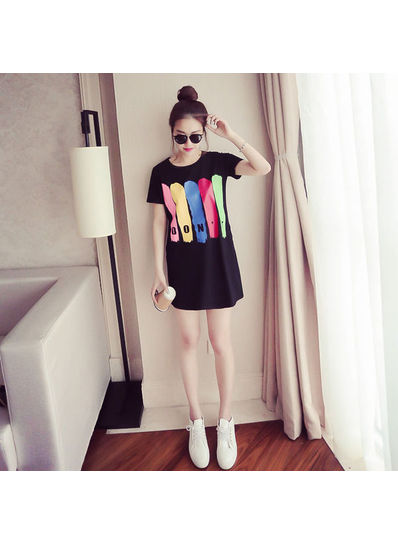 Letter Printed Long T-shirt - KP002094