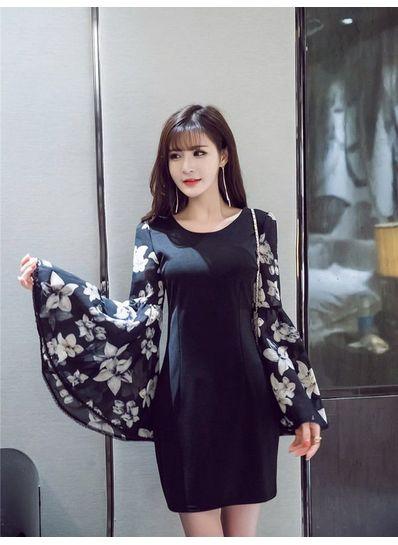 Cute Floral Flared Sleeve Dress - KP002117