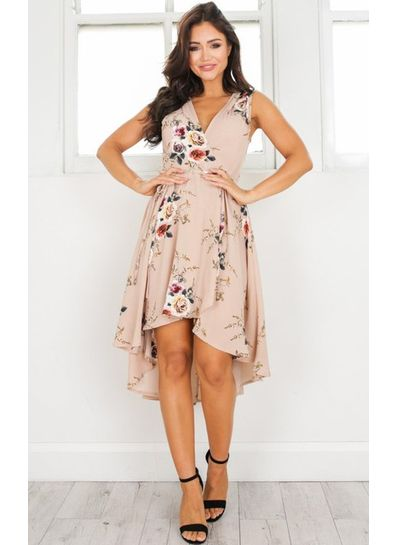 V - Neck Floral Asymetric Dress - KP002119
