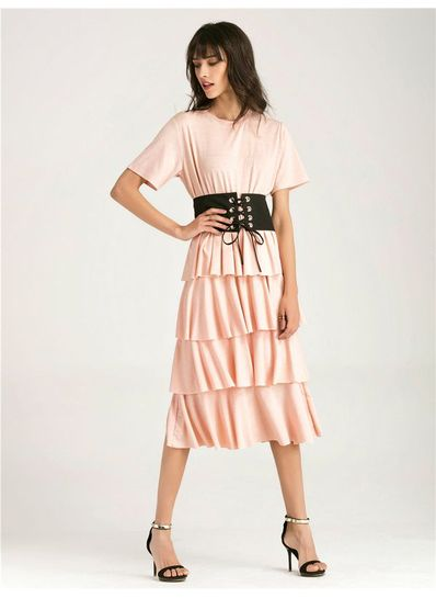 Ruffle Midi Dress with Belt - KP002124