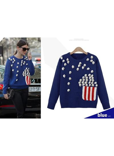 Popcorn Design Knitted Sweater - KP001438