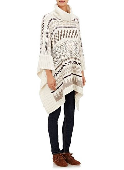 Geometry Design Turtle Neck Poncho - KP001439