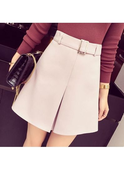 Solid color Zipper Skirt With Belt