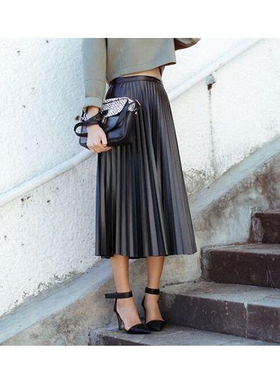 Beautiful Pleated PU Skirt