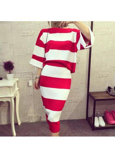 Stripped Quarter Sleeve Two Piece Dress