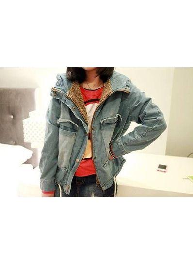 Denim Warm Hooded Coat - KP001434