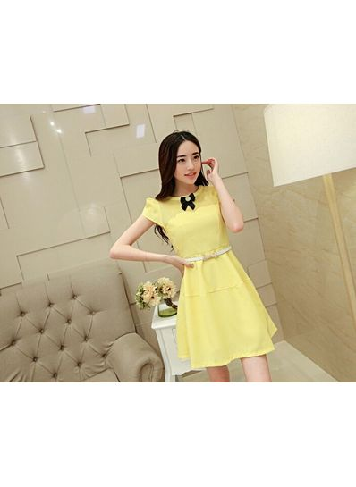 Smart Bow Yellow Dress With Belt