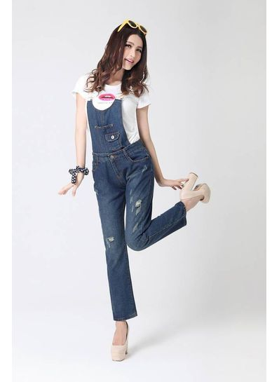 Blue High Waist Pockets Denim Overall Dungaree