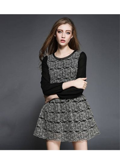 Stunning Lace Embroidery Black Dress