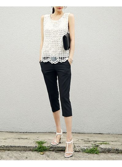 Organza Top with Cropped Pants