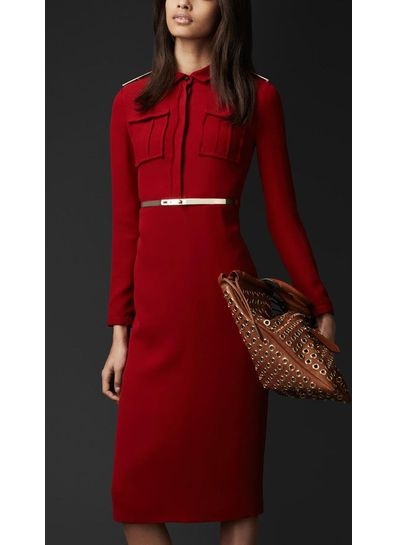 Turndown Collar Party Dress With Belt