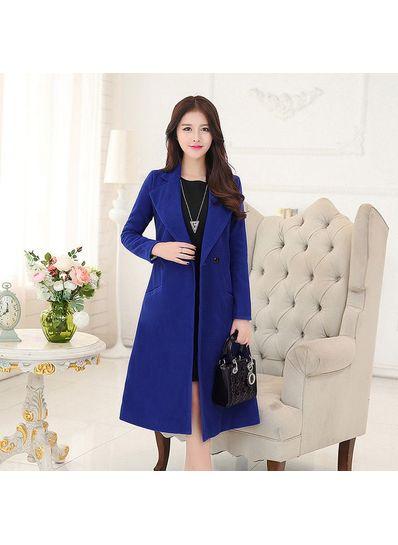 Solid color Long Coat - KP001433