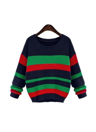 Colorful Striped Sweater - KP001437