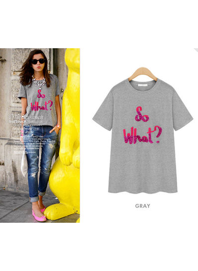 Sequined T-Shirt in White & Grey - KP001597