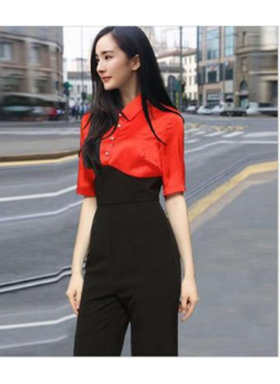 Black and Red High Waisted Jumpsuit - KP001978