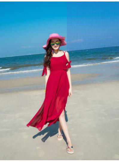 Cute Red Maxi Dress - KP002198