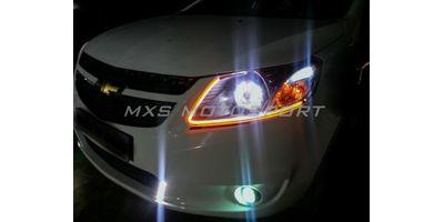 MXS1902 Audi-Style White-Amber DRL Daytime Running Light for Chevrolet Aveo