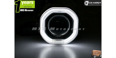 Hero Motocorp GLAMOUR Headlight HID BI-XENON Halo Ring Square Projector