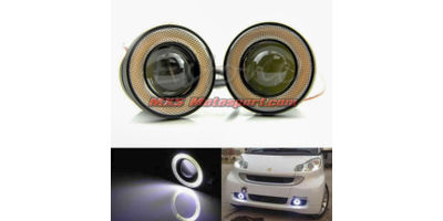 MXS2480 Super Bright Fog Light COB LED Projector White Angel Eye Halo Ring Car and SUV