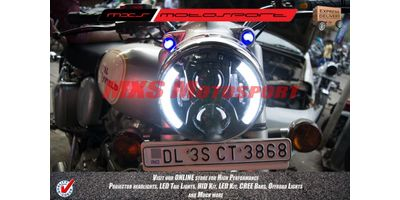 MXSHL392 LED Black Monster Headlight for Royal Enfield Bullet Motorcycle