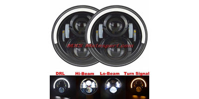 MXSHL399 Tech Hardy White Angel Eye Projector Headlights for Mahindra Thar Jeep