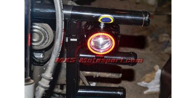 MXSORL144 Projector Fog Lights Angel Eye Halo Ring + Red Demon Eye Strobe Royal Enfield Bullet