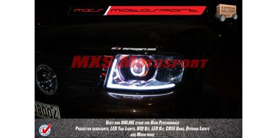MXSHL148  Tata Safari Dicor Projector Headlights Square Robotic Angle Eye With DRL