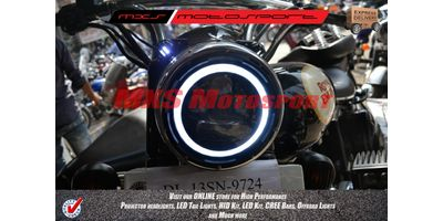 MXSHL221 Black Round Projector DRL LED Hi/Lo Light Royal Enfield Bullet