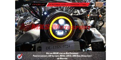 MXSHL105 Black Round Projector DRL LED Hi/Lo Light Royal Enfield Bullet