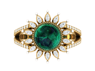 Emerald Ring with marquise diamonds & pearls