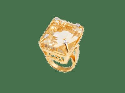 Emerald Cut Citrine Gold Ring