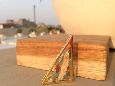 Olive Green Marquise Triangle Pendant