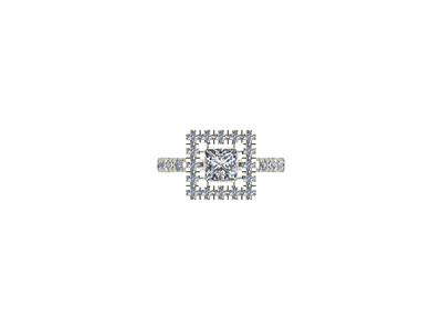 Princess cut square engagement ring