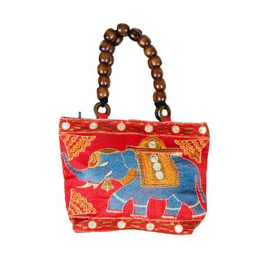 Small wooden beads hand bag