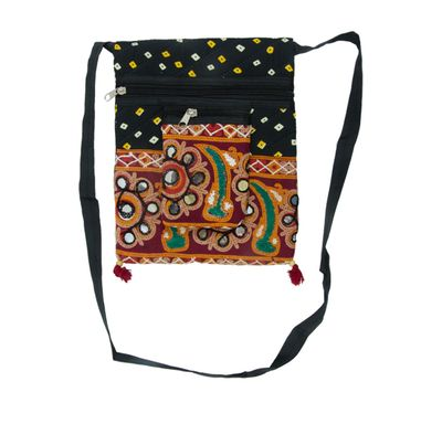 Bandhej kutch work passport bag