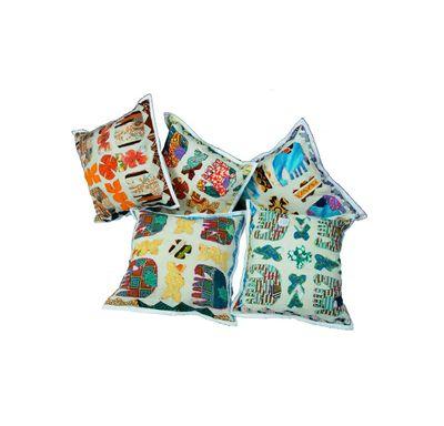 Four royal elephant cushion cover