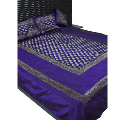 Elephant border silk double bed cover