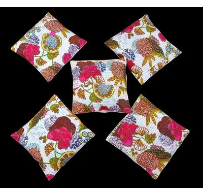 Fruit print with tagai work cushion cover