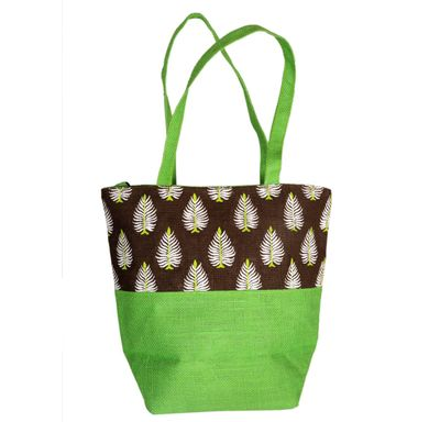 Green and brown printed jute bag