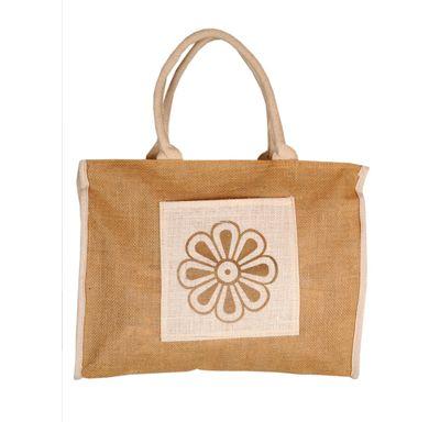Cream flower print square jute bag