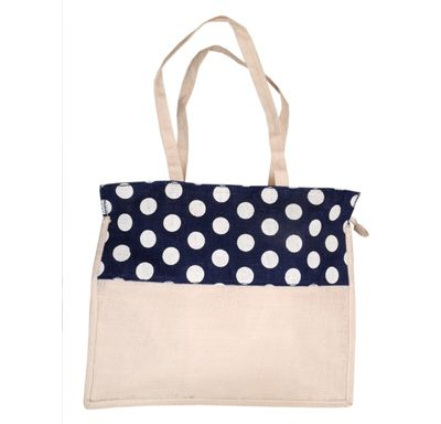 Dot print jute bag blue and cream