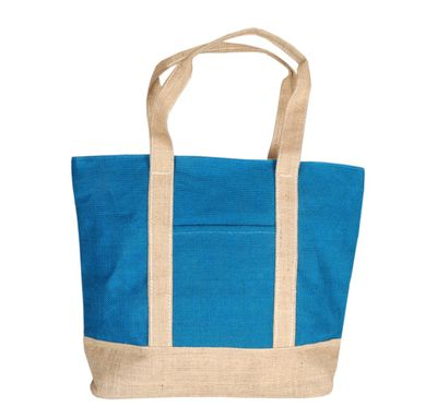 Blue and cream step jute bag
