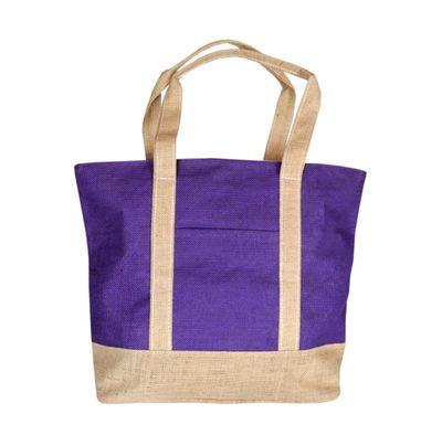 Purple and cream step jute bag