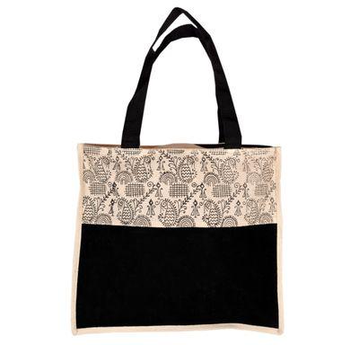 Cream and black print square jute bag